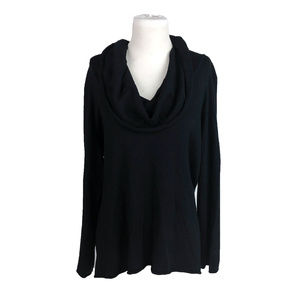 Chico's 3 Black Silk Blend Cowl Neck Long Sleeves
